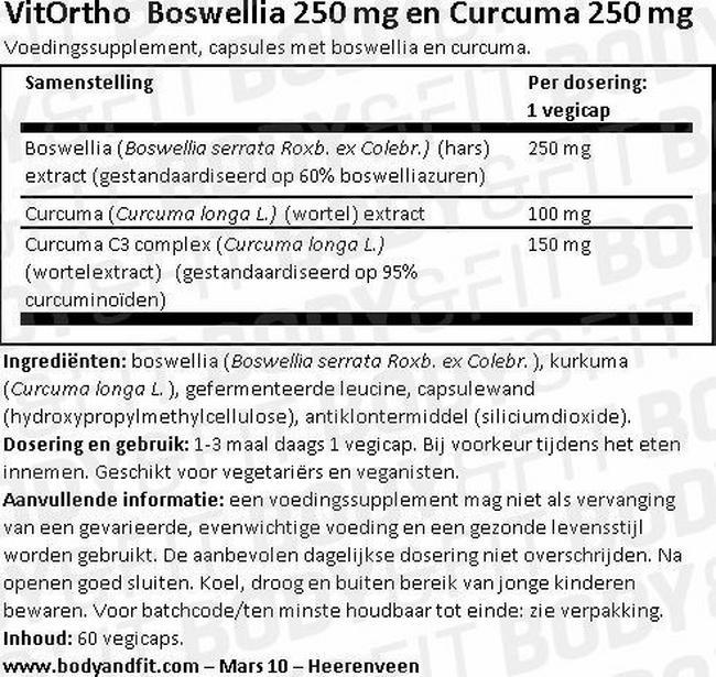 Boswellia 250 mg and Curcuma 250 mg Nutritional Information 1