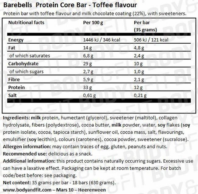 베어벨스 코어 바 (Core Bar) Nutritional Information 1