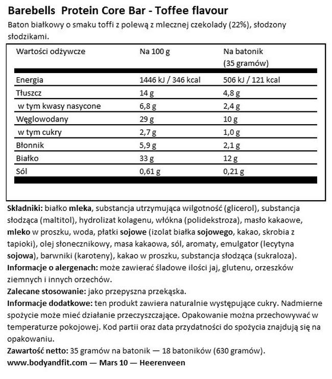 Core Bar Nutritional Information 1