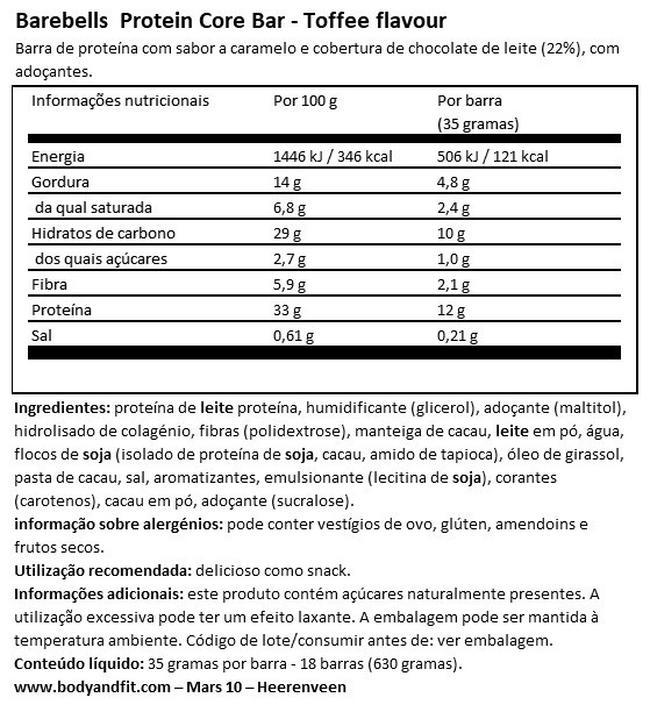Barra Core Nutritional Information 1