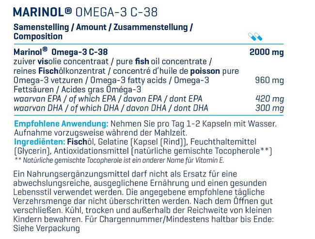 Marinol® Omega3 - 180 Kapseln (MHD (31.12.2020) Nutritional Information 1