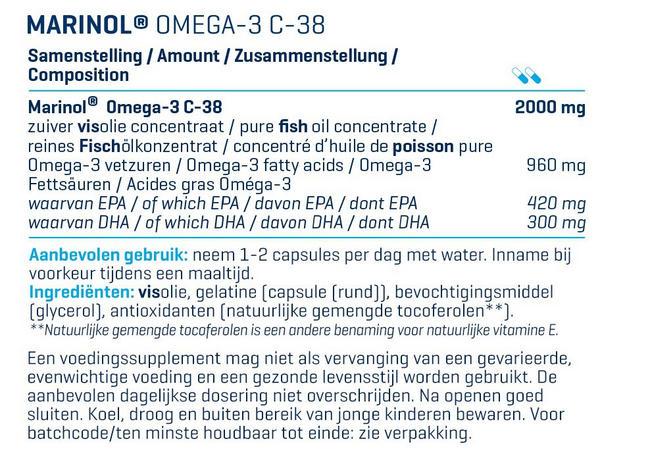 MARINOL® OMEGA 3 - 180 gélules (DLUO 31-12-2020)  Nutritional Information 1