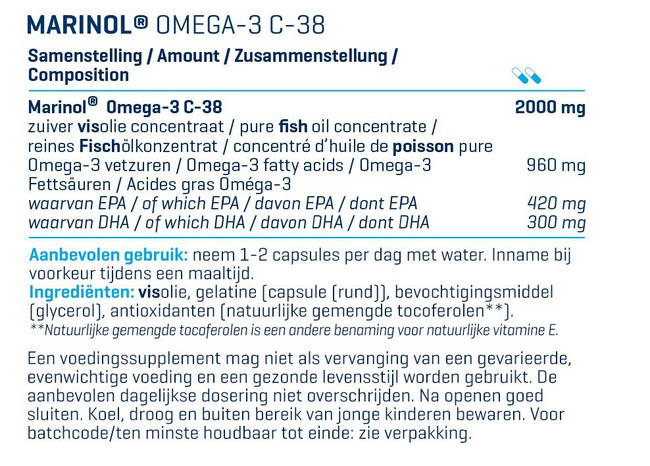 MARINOL® OMEGA3 - 180 Caps (THT 31/12/2020) Nutritional Information 1