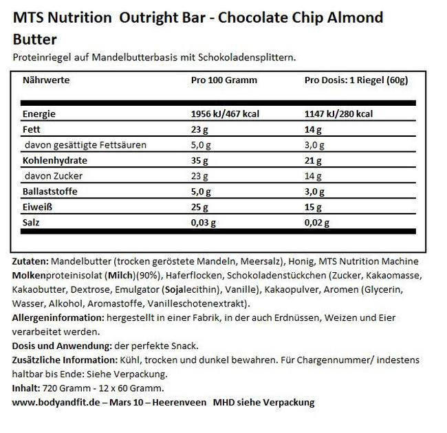 Outright Bars - Box (12X60g) (MHD 18.11.2020) Nutritional Information 1