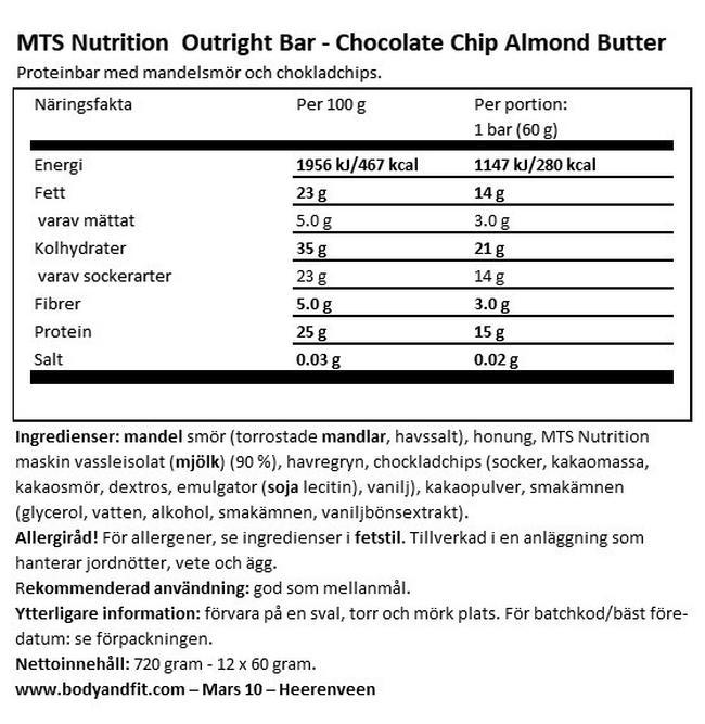 Outright Bars (Bäst före 18.11.2020) Nutritional Information 1