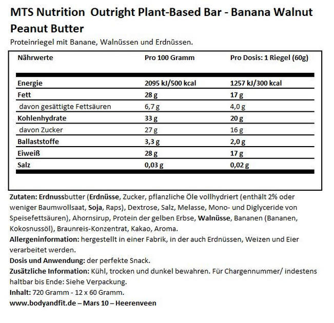 Outright Bars Vegan - Box (12X60g) Nutritional Information 1