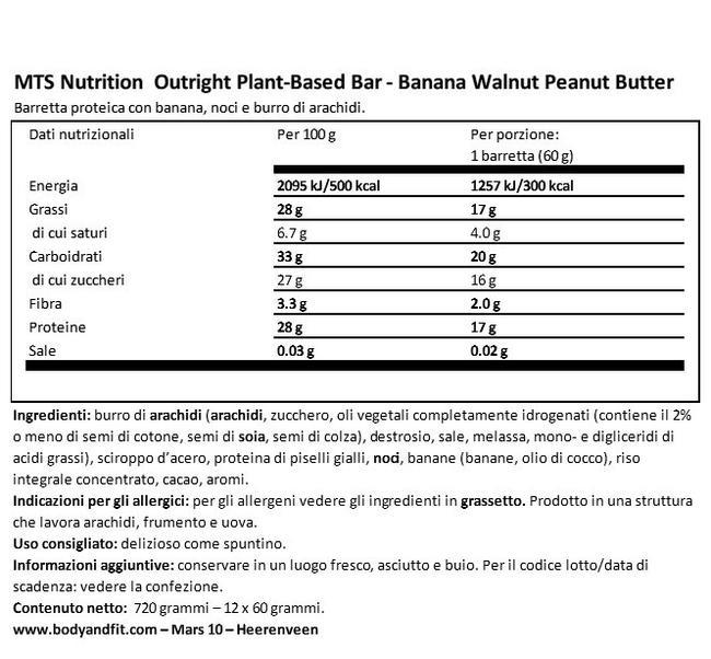 Barretta Vegana Outright Nutritional Information 1