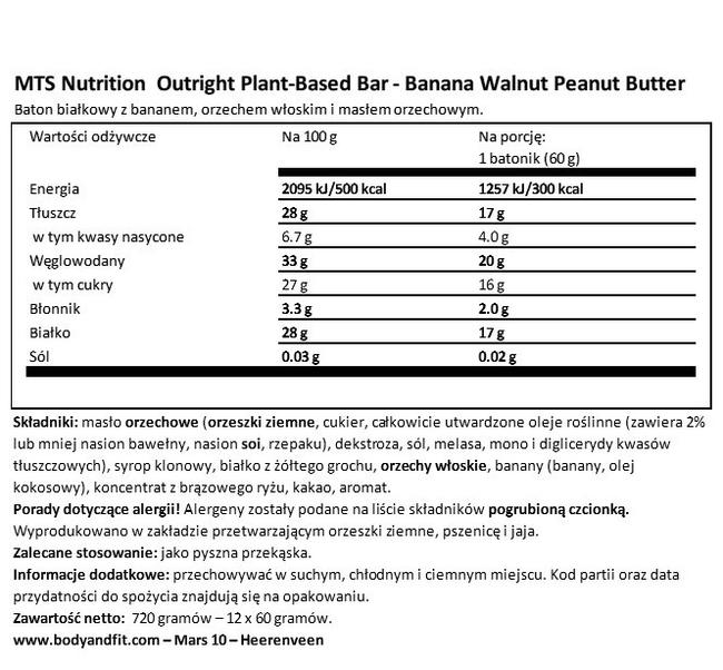 Outright Bars Vegan Nutritional Information 1