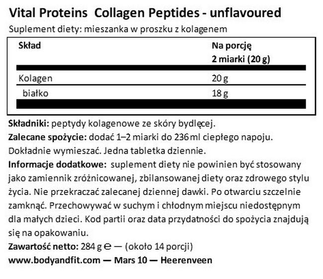 Collagen Peptides Nutritional Information 1