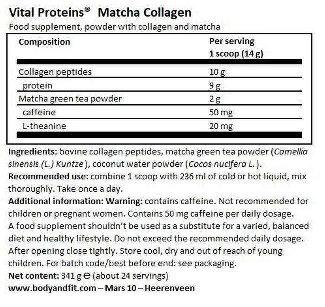Matcha Collagen Nutritional Information 1