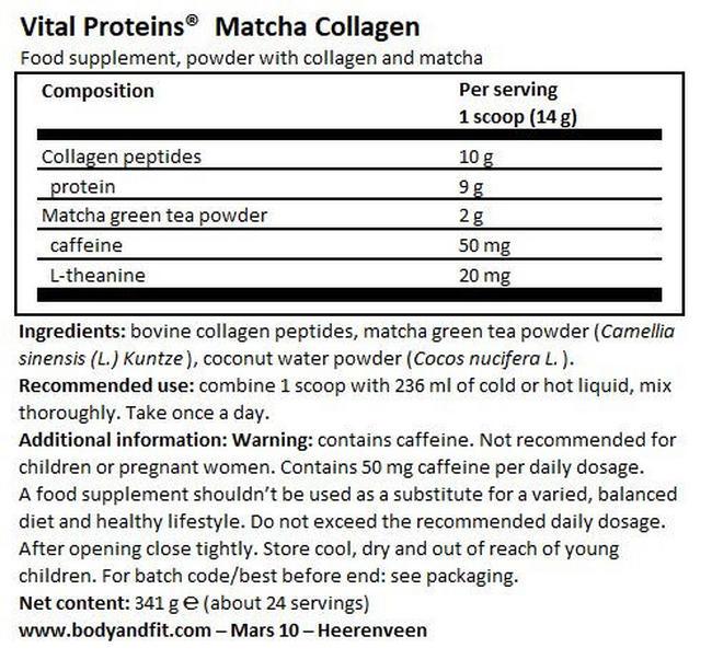 Matcha Collagen Nutritional Information 1