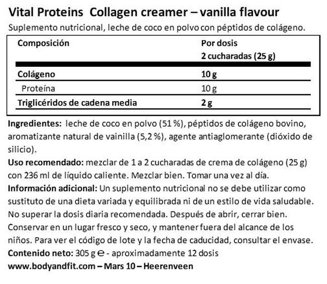 crema de colágeno de coco Nutritional Information 1