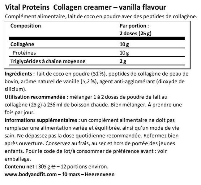 Poudre de lait au collagène  Nutritional Information 1
