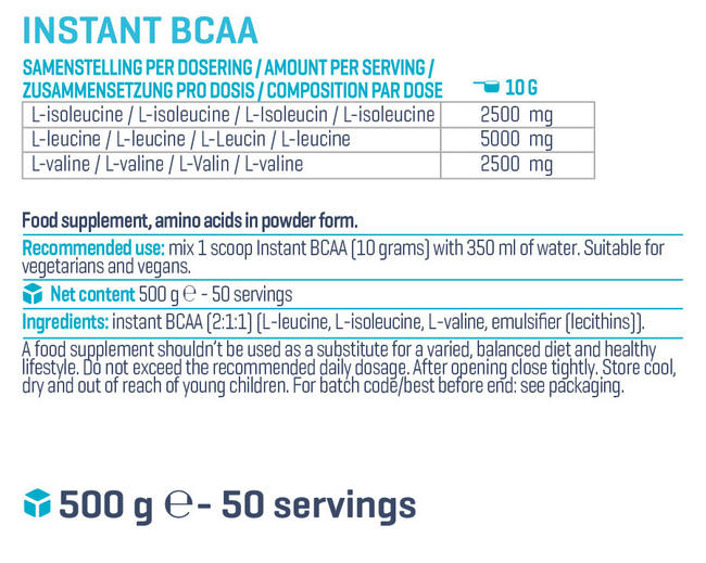 Instant BCAA Nutritional Information 1