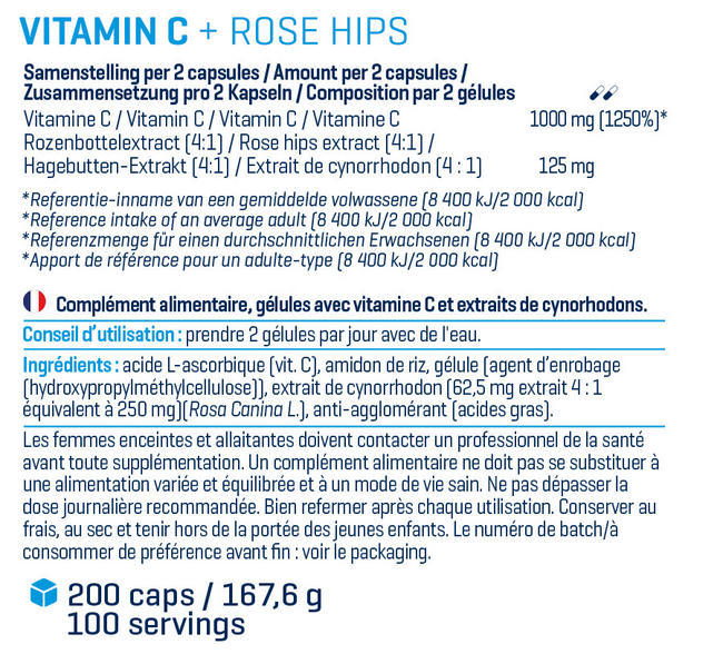 Vitamin C with Rose Hips Nutritional Information 1