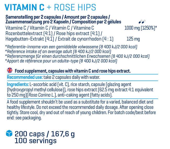 ビタミン C +  ローズヒップ Nutritional Information 1