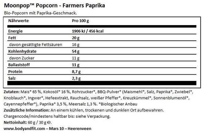 Moonpop Popcorn Nutritional Information 1