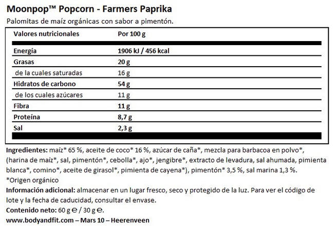 Palomitas Moonpop Nutritional Information 1