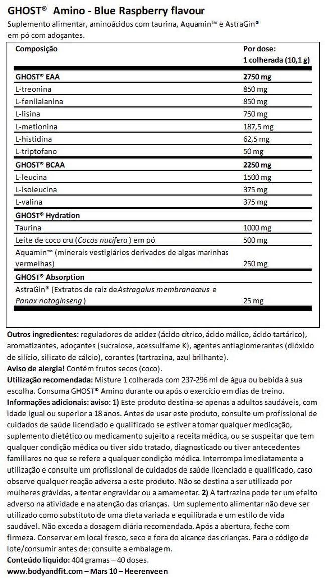 Ghost Amino V2 Nutritional Information 1