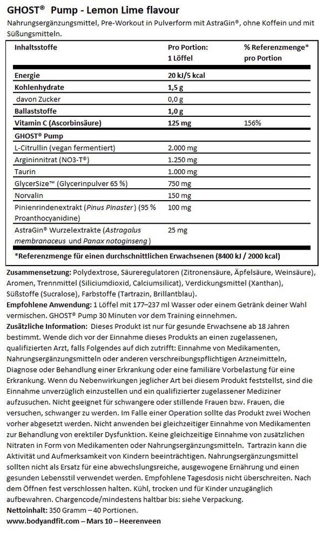 Ghost Pump Nutritional Information 1