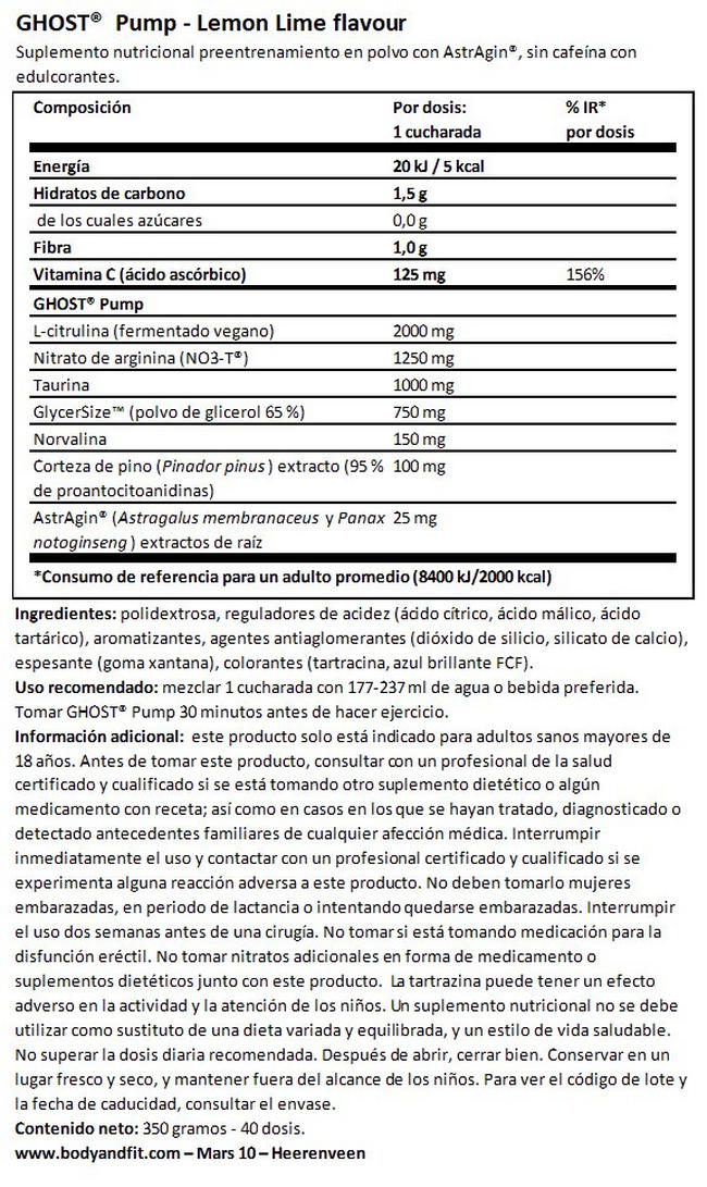 Ghost Pump Nutritional Information 1