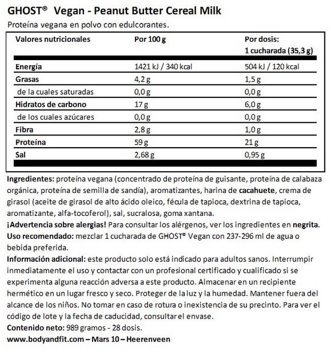 Ghost Vegan Protein Nutritional Information 1