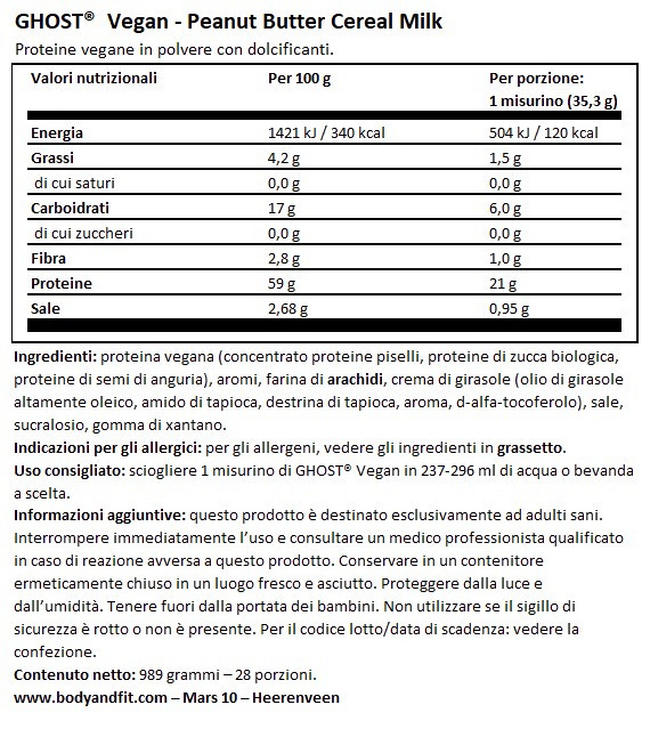 Ghost Proteina Vegana Nutritional Information 1