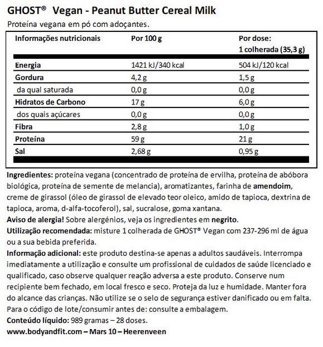 Ghost Vegan Protein Nutritional Information 1