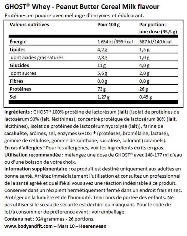 Ghost 100% Whey Nutritional Information 1