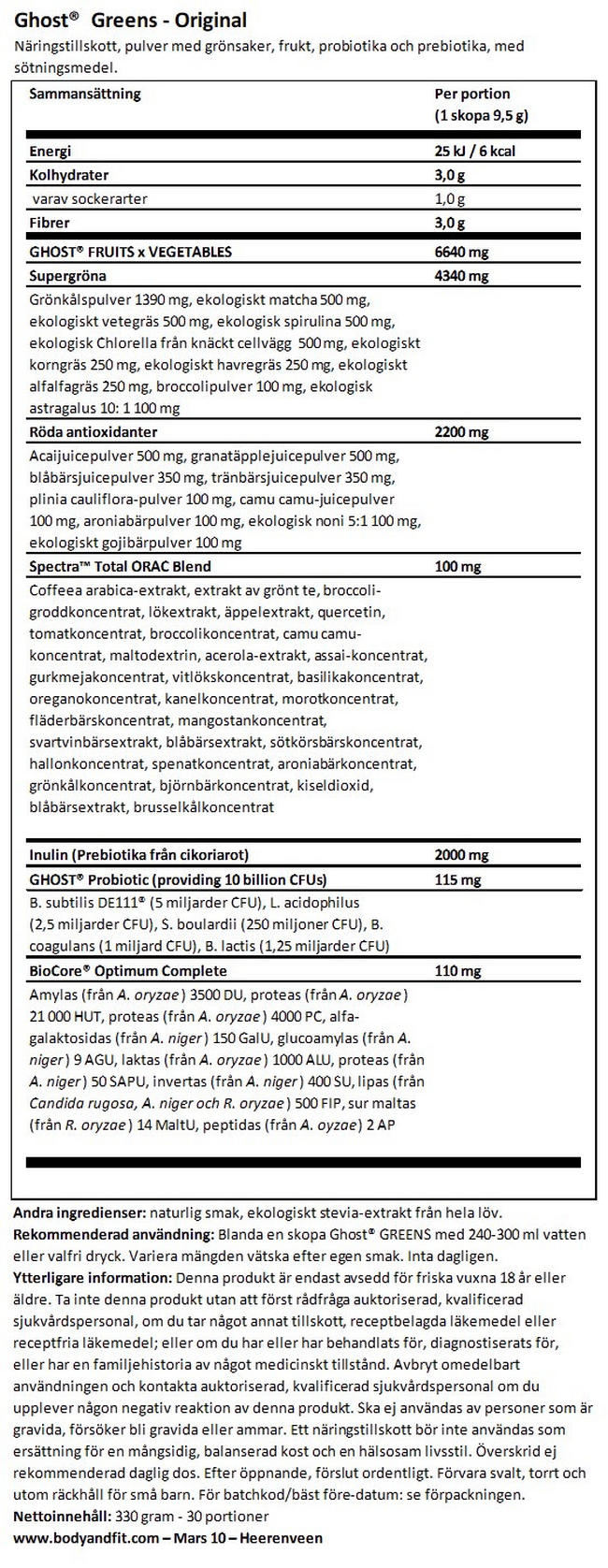Ghost Greens Nutritional Information 1