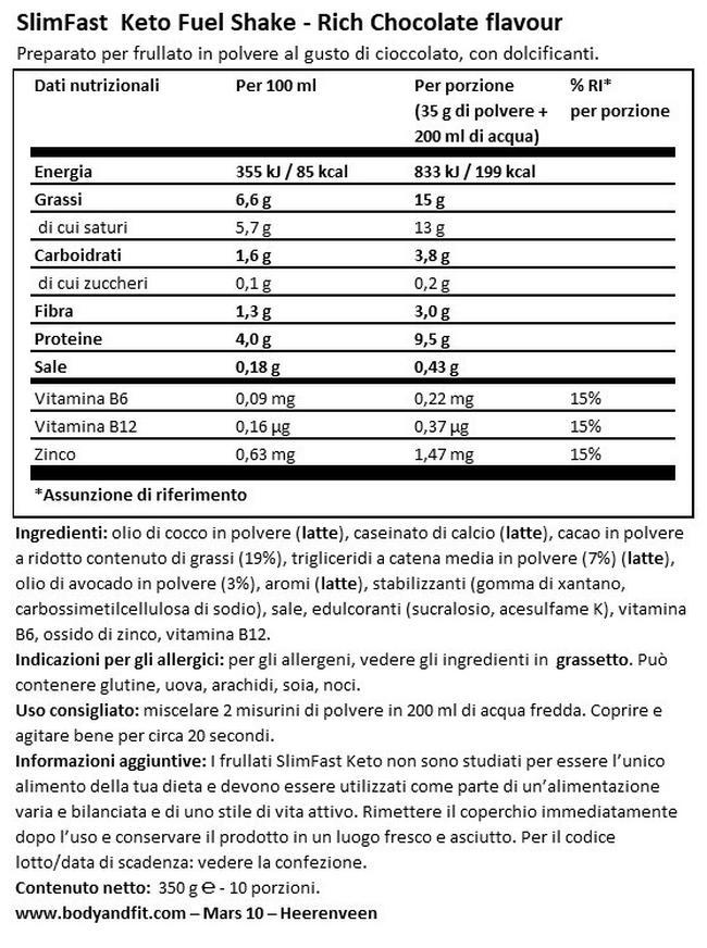 Advanced Keto Fuel Shake Nutritional Information 1
