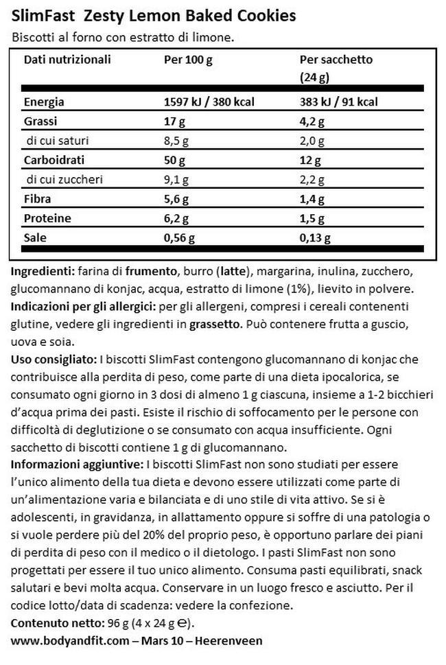Zesty Lemon Baked Cookies Nutritional Information 1