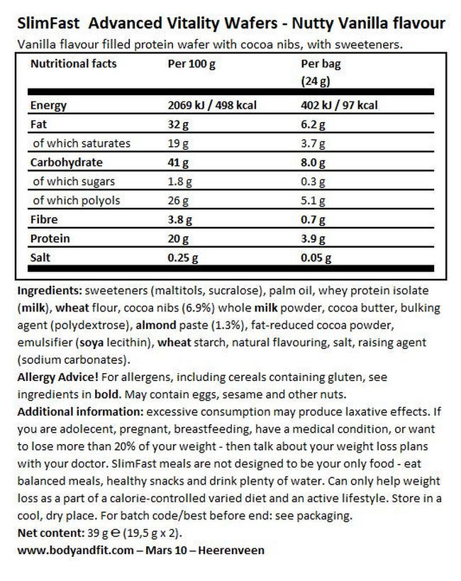 Advanced Vitality Wafer  Nutritional Information 1