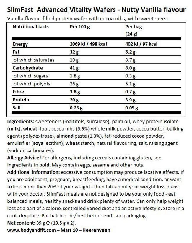 Advanced Vitality Wafer  Nutritional Information 1