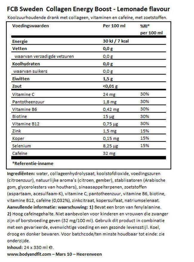 Collagen Energy Boost Drink Nutritional Information 1