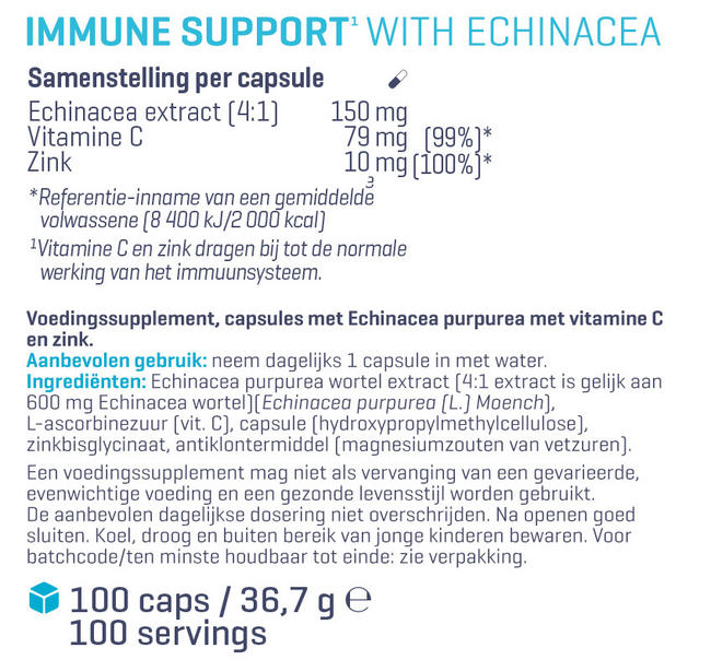 Immune Support met Echinacea  Nutritional Information 1