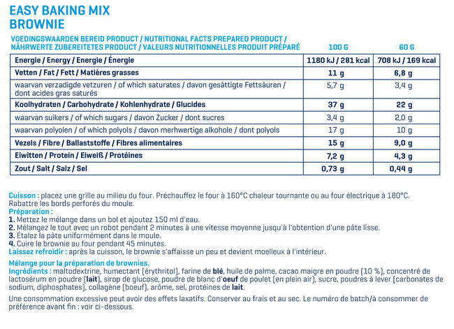 Easy Baking Mix - Brownie Nutritional Information 1