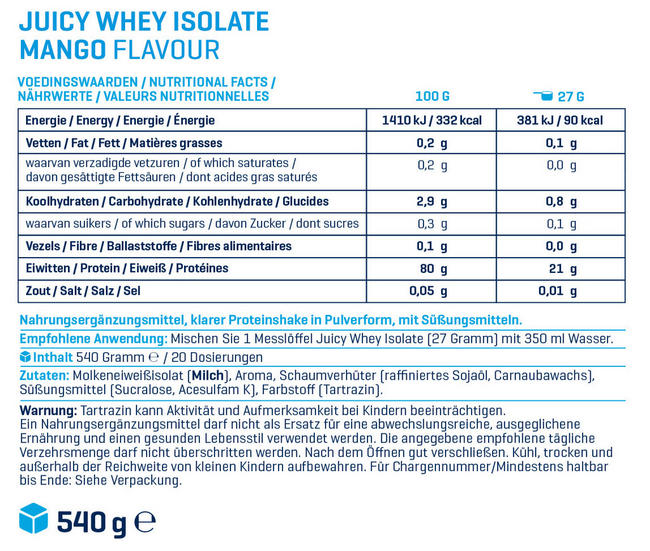 Juicy Whey Isolate Nutritional Information 1