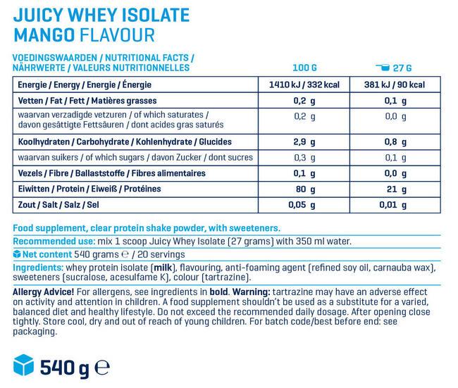 쥬시 웨이 아이솔레이트 (juicy Whey Isolate) Nutritional Information 1