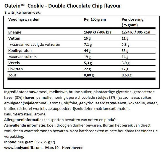 Protein Cookie Nutritional Information 1