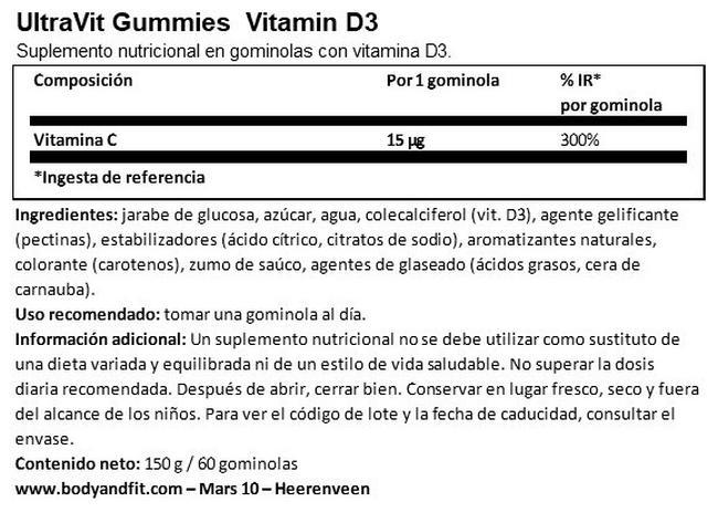 Gummies Vitamin D3 - 60 gummies   Nutritional Information 1