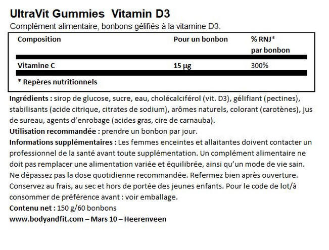 Gummies Vitamin D3 - 60 gummies   Nutritional Information 1
