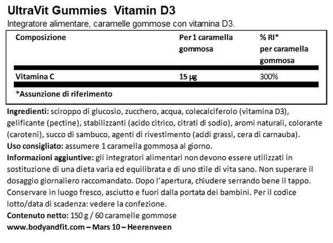 UltraVit Gummies Vitamina D3- 60 gomme Nutritional Information 1