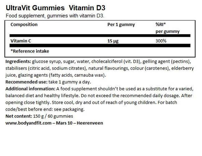 UltraVit グミ ビタミン D3 - 60粒 Nutritional Information 1