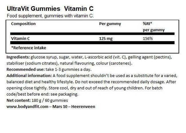 UltraVit グミ ビタミン C - 60粒 Nutritional Information 1
