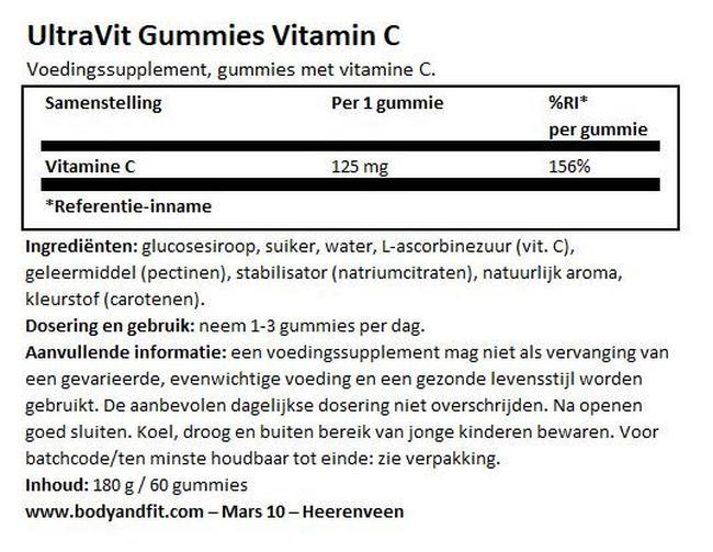 Gummies Vitamin C - 60 gummies Nutritional Information 1