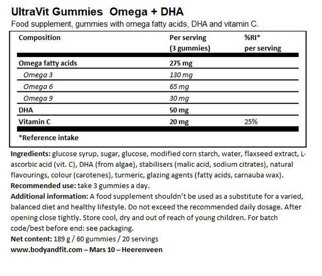 Gummies Omega+DHA (Vegan) - 60 gummies Nutritional Information 1