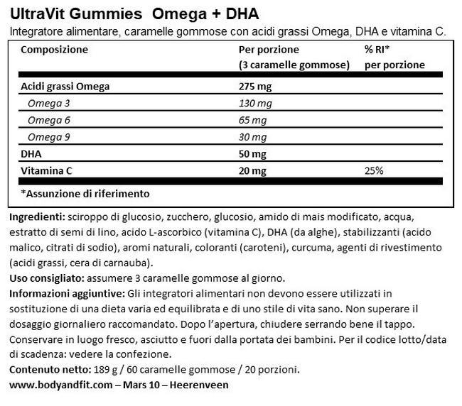 Gummies Omega+DHA (Vegan) - 60 gomme Nutritional Information 1