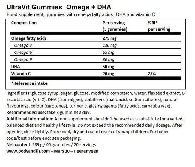 UltraVit グミ オメガ+DHA (ビーガン) - 60粒 Nutritional Information 1