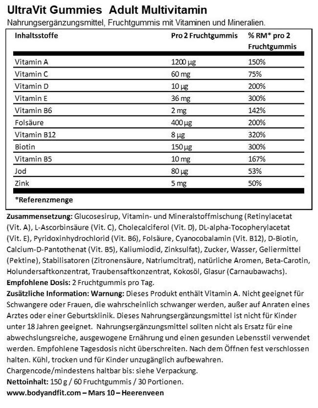 Gummies Adult Multivitamin - 60 Gummies Nutritional Information 1